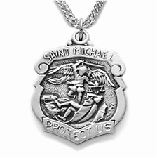 Simply Stunning Sterling Silver Patron of Police Officers Saint Michael Pendant
