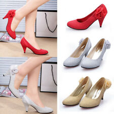 Girl Women Flower Decor Kitten High Heels Ballroom Bridal Wedding OL Court Shoes