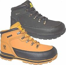 MENS LADIES LIGHT LEATHER   SAFETY STEEL TOE CAP WORK TRAINER SHOE ANKLE BOOTS