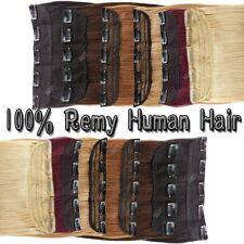 UK Real REMY Clip In Human Hair Extensions Long New Half Full Head Human Hair SC