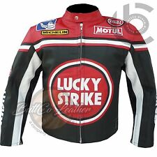 RED LUCKY STRIKE Genuine Cowhide Leather Motorcycle Motorbike Biker Jacket