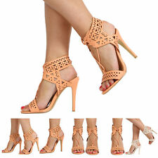 NEW WOMENS LADIES STILETTO HIGH HEEL SLINGBACK OPEN TOE LACE UP SHOES SIZE 3-8