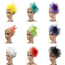 Feather Fascinator Lady Mesh Floral Wedding Party Hair Band Headdress Accessory