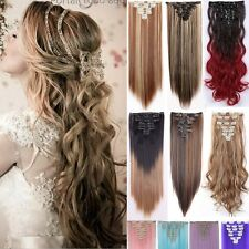 """UK 100% Thick Clip in Hair Extensions Blonde Brown Black 24/26"""" Long as Human LN"""