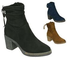 LADIES WOMENS HIGH BLOCK HEEL FAUX SUEDE LEATHER ZIP SHOES NEW ANKLE BOOTS SIZE