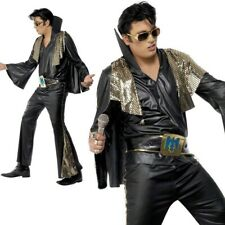 Elvis Black and Gold Costume Mens Licensed Fancy Dress Outfit M,L