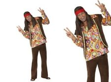Psychedelic 1960s Hippy Costume Mens 60s Hippie Fancy Dress Outfit M,L