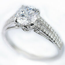 925 Sterling Silver Cubic Zirconia CZ 2 Row Stylish Bridal Engagement Band Ring
