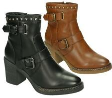 WOMENS CHELSEA PLATFORM BUCKLE STRAP ZIP HIGH BLOCK HEEL ANKLE BOOTS SHOES SIZE