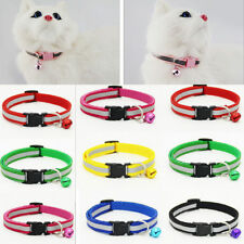 Adjustable Reflective Breakaway Nylon Cat Safety Collar with Bell for Kitten Cat