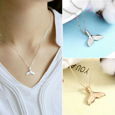 Gold Silver Whale Tail Fish Nautical Charm Mermaid Tail Chain Necklace Jewelry