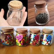 2/5/10Pcs 100ML Small Clear Glass Jars Bottle Wish Vial Container+Cork Stopper