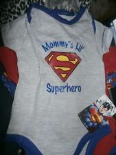 NEW INFANT 3 PIECE SET SUPERMAN ONE PIECE MOM'S LIL SUPERHERO 3/6 MONTHS BABY