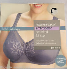 M&S MAXIMUM SUPPORT FULL CUP BRA NON WIRED  BOXED AUBERGINE MARKS & SPENCER