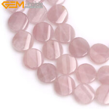 16mm Twist Flat  Coin Natural Gemstone Loose Beads Jewelry Making Strand 15""