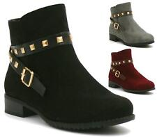 Womens Studded Low Heel Chelsea Ankle Boots Ladies Cowboy Heels Shoes Work Size