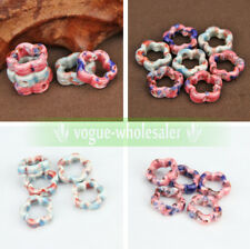 Fashion 5Pcs Flower Shape Hollow Ceramic Porcelain Loose Spacer Big Hole Beads