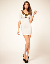 NEW PAPRIKA EMBELLISHED COLLAR WHITE DECO OPEN BACK BODYCON MINI DRESS CHIC LOOK