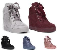 Ladies Flat Casual Ankle Boots Hidden Wedge Hi Top Satin Lace Up Shoes Boots