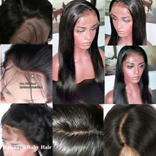 "10-22"" Virgin Brazilian Lace Front Wig Remy Human Hair Silk Straight Natural #1b"