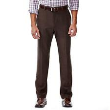 NEW MENS HAGGAR DRESS PANTS FLAT FRONT BROWN CLASSIC FIT SIZE 40 X 32 SLACKS