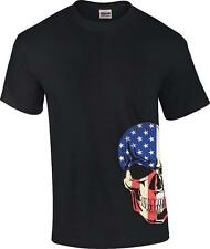 Men's Bottom Black American Flag Skull US Flag Biker T-Shirt Sizes S-6x