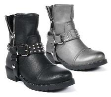 LADIES FAUX LEATHER SPIKE STUDS FASHION PUNK GOTH ZIP WORKER ANKLE BOOTS SHOES