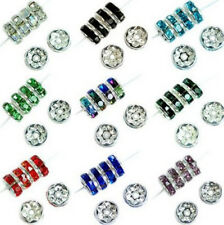 100pcs 8mm Rhinestone Crystal Rondelle Spacer Beads Silver Plated Jewelry Craft