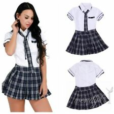 HOT! Women School Girl Uniform Costume Fancy Dress Cosplay Shirt Plaid Skirt Tie