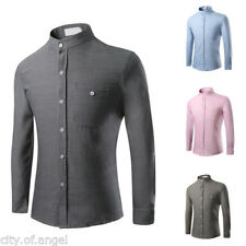 Mens Luxury Casual Formal Shirt Long Sleeve Slim Fit Business Dress Shirts Tops