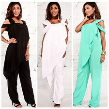 Women Asymmetric Fashion Casual Loose Wide Leg Jumpsuit Playsuit Pants Romper
