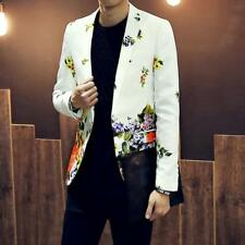 New Mens Casual Suit Blazer Stylish Floral Slim Fit Jackets Coats Mens Size Tops