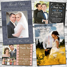 50 Personalised Wedding Thank You Cards With Envelopes & Photos Folded Postcard