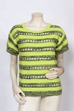 RONDINA Etcetera Lime Green Navy Striped Knit Sweater Top - Size XS S M XL