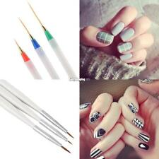 DIY 3pcs Nail Art Design Acrylic Drawing Painting Striping UV Gel Pen Brush Set