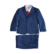 Boys Blue Checked Suit 5 Piece Wedding Suit Prom Page Boy Formal Party 2-12 Year