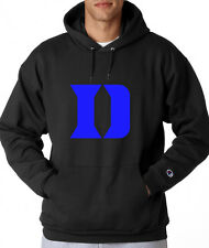 Duke Blue Devils D Logo Champion Hoodie Pullover Sweatshirt Mens New Black