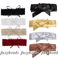 Women Bowknot Faux Leather Wrap Around Self Tie Obi Cinch Waist Band Corset