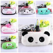 Pen Case Soft Cartoon Animal Pencil Plush Makeup Cosmetic Pouch Bag Zipper U