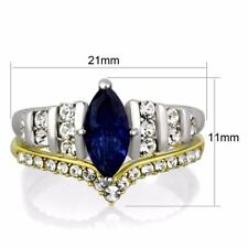 Women Marquise Cut Royal blue CZ Two Tone Gold Stainless Steel Wedding RINGS Set