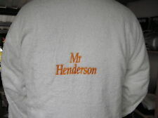 Cotton Terry Towelling Robe Personalised with NAME on BACK choice 4 font types