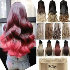 UK One Piece Full Head Clip in Thick AS Human Hair Extensions Wavy Straight WAVY