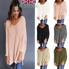 UK Women's Long Sleeve Jumpers Tops Baggy Crochet Knitted Sweater V Neck Blouse