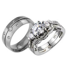 His Hers Titanium Sterling Silver Cubic Zirconia Vintage Wedding Ring Set
