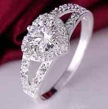 Ideal Silver Plated RHINESTONE Crystal Love Heart Ring Bridal Wedding Party GIFT