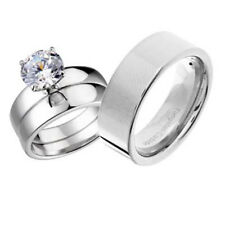 His and Hers Wedding Rings 3 pcs Engagement CZ Sterling Silver Tungsten Set CD