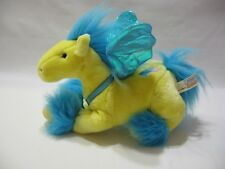 "Pegasus Plush Winged Horse Yellow Blue Stuffed Animal Alley Toy 11"" Soft Cute"