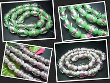 11x16MM Handwork Pink & Green Lampwork Glass Drum Spacer Beads Jewelry 25PCS