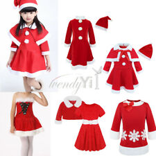 Toddler Kids Girls Christmas Santa Dress + Coat Outfit Costume Xmas Clothes 1-5T