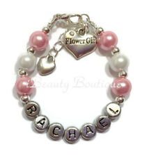Personalized FLOWER GIRL Wedding Charm Bracelet Hand Made Gift Any Color/Name